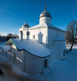 Cathedral in old fortress in Izborsk Stock Images
