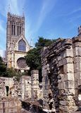Cathedral and old ruins, Lincoln, UK. Stock Photography
