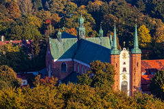 Cathedral Oliwa. The top view of Oliwa Cathedral in autumn scenery. Gdank, Poland Royalty Free Stock Images