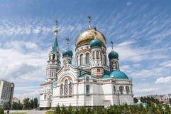 Cathedral in Omsk. Orthodox Uspensky Cathedral in Omsk Stock Photo