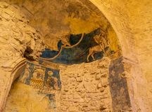 Saint-Sauveur cathedral, old fresco details. This cathedral, one of Aix-en-Provence symbols, is a mix of styles architecture. Roman style part was built during royalty free stock photo