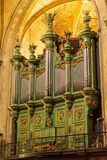 Aix-en-Provence Saint-Sauveur cathedral green organ. This cathedral, one of Aix-en-Provence symbols, is a mix of styles architecture. Roman style part was built stock image