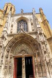 Saint-Sauveur cathedral, symbol of Aix-en-Provence. This cathedral, one of Aix-en-Provence symbols, is a mix of styles architecture. Roman style part was built stock photo