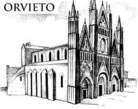 The Cathedral of Orvieto Duomo di Orvieto, Umbria, Italy engraved or hand drawn illustration Royalty Free Stock Photography