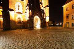Cathedral in Ostrow Tumski at Night, Wroclaw, Poland Stock Images