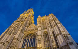 Cathedral of Our Lady in Anterpen At Night Royalty Free Stock Image