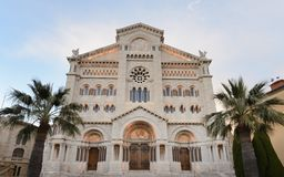 The Cathedral of Our Lady Immaculate ,  but sometimes called Saint Nicholas Cathedral. Name of the old church which was demolished in 1874, Monaco royalty free stock image