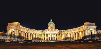 Cathedral of Our Lady of Kazan in Saint Petersburg. Panorama of Cathedral of Our Lady of Kazan, Russian Orthodox Church in Saint Petersburg, Russia at night Stock Images