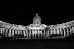 Cathedral of Our Lady of Kazan in Saint Petersburg. Cathedral of Our Lady of Kazan, Russian Orthodox Church in Saint Petersburg, Russia at night. Black and white Royalty Free Stock Images