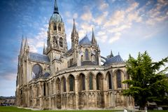 Bayeux medieval Cathedral of Notre Dame, Calvados department of Normandy, France. The Cathedral of Our Lady, a masterpiece of Romanesque and Gothic architecture Royalty Free Stock Photo
