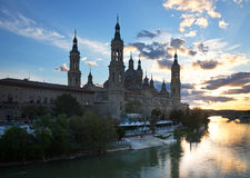 Cathedral of Our Lady of the Pillar and Ebro  in evening. Zarag Royalty Free Stock Image