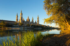 Cathedral of Our Lady of the Pillar in morning. Zaragoza Stock Image