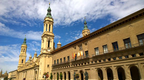 Cathedral of Our Lady of the Pillar in Zaragoza Stock Photos