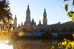 Cathedral of Our Lady of the Pillar   in  Zaragoza, Spain Royalty Free Stock Images