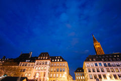 Cathedral of Our Lady of Strasbourg night Chrtistmas MArket Royalty Free Stock Images