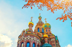Cathedral of Our Savior on Spilled Blood in St Petersburg, Russia in autumn day Royalty Free Stock Photography