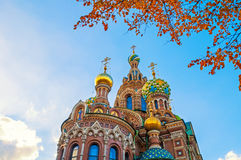 Cathedral of Our Savior on Spilled Blood in St Petersburg, Russia in autumn day Stock Photography