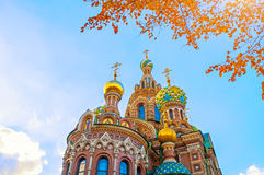 Cathedral of Our Savior on Spilled Blood in St Petersburg, Russia in autumn day Stock Photos