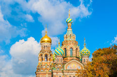Cathedral of Our Savior on Spilled Blood in St Petersburg, Russia in sunny autumn day Stock Photos