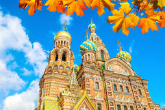 Cathedral of Our Savior on Spilled Blood in St Petersburg, Russia in sunny autumn day Royalty Free Stock Photo