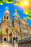 Cathedral of Our Savior on Spilled Blood in St Petersburg, Russia in sunny day Stock Photo