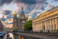 Cathedral of Our Savior on Spilled Blood. Surrounded by clouds Stock Photo