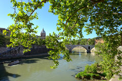Cathedral Over Bridge And RiverTiber Stock Photography