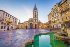 The Cathedral of Oviedo. Spain, was founded by King Fruela I of Asturias in 781 AD and is located in the Alfonso II square Royalty Free Stock Photography
