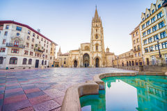 The Cathedral of Oviedo. Spain, was founded by King Fruela I of Asturias in 781 AD and is located in the Alfonso II square Stock Image