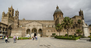 Cathedral in Palermo. PALERMO, ITALY - OCTOBER 2, 2012: Crowds of tourists visit main cathedral, on October 2, 2012 in Palermo, Italy Stock Images