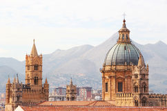 Cathedral of palermo, the dome and bell towers. A detailed view of the dome and the bell towers of the cathedral of palermo, sicily, landscape cut Royalty Free Stock Image