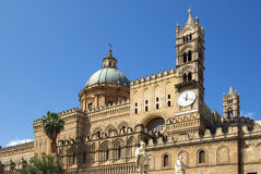 Cathedral of palermo. The cathedral of palermo in a sunny day, general view of the facade with the dome Royalty Free Stock Photo