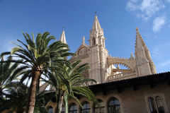 Cathedral of Palma. Cathedral gothic style with towers and decorations, flying buttresses in Palma stock image