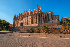 Cathedral of Palma de Majorca at evening Royalty Free Stock Photo