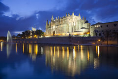 Cathedral of Palma de Majorca. At the evening, Spain Stock Images