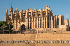The cathedral of Palma de Majorca in the evening sun.  Royalty Free Stock Photography