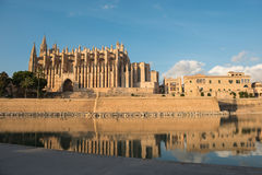The cathedral of Palma de Majorca in the evening sun.  Stock Image