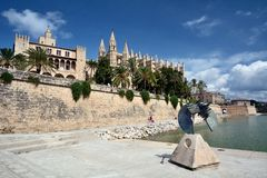 Cathedral of Palma de Majorca and la Almudaina Stock Photo