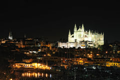 Cathedral in Palma de Majorca at night Stock Images