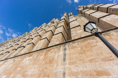Cathedral of Palma de Majorca, perspective. Perspective view of top of Cathedral of Palma de Majorca with blue sky Stock Image