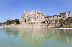 Cathedral of Palma de Majorca. Reflecting in green water, Spain Royalty Free Stock Image