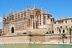 Cathedral of Palma de Majorca, Spain. Aerial view of Cathedral La Seu de Palma de Majorca, Spain Stock Photo