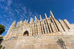 Cathedral of Palma de Majorca, wide angle. Wide angle view of Cathedral of Palma de Majorca with blue sky and clouds Stock Images