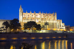 Cathedral of Palma de Mallorca illuminated at night Stock Photos
