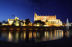 Cathedral of Palma de Mallorca illuminated at night Royalty Free Stock Images