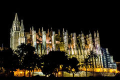 Cathedral Palma de Mallorca. Cathedral La Seu in Palma de Mallorca at the Night Stock Photo