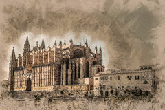 Cathedral of Palma de Mallorca. Cathedral of Palma de Mallorca, rear view from road. Big gothic church on the sea shore. Beautiful travel picture of Spain Royalty Free Stock Photography