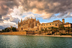 Cathedral of Palma de Mallorca, Spain. Sunset over medieval gothic La Seu, the cathedral of Palma de Mallorca, Spain Stock Images