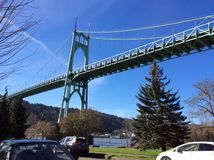 Cathedral Park Bridge in the Sun. Cathedral Park in sun with blue sky of Portland Oregon Royalty Free Stock Photography