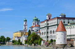 Cathedral of passau. Cathedral of old german historical city of passau stock image